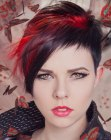 capelli corti – short black hair with red accents