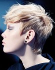 tagli corti trendy - side view of a trendy short haircut