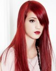 acconciature lunghe – straight long red hair