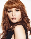 tagli lunghi - red hair with short bangs