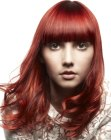 tagli per capelli lunghi - red hair with highlights